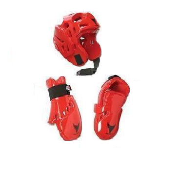 Lightning Red Karate Taekwondo Sparring Gear Set Package Deal Child and Adult