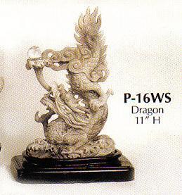 Faux Marble Stoneware Dragon-P16WS
