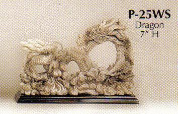 Faux Marble Stoneware Dragon-P25WS