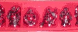 Set of 6 Deep Red Buddhas