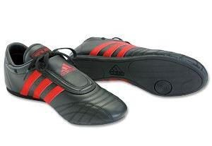Adidas Adult Sneakers (Black with Red Stripes)