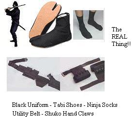 Ninja Package-Uniform Shoes Socks Belt Claws