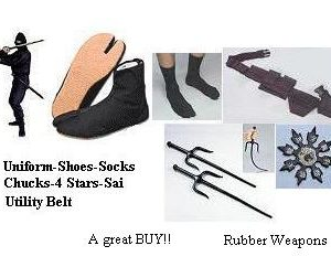 NINJA Package-Uniform Shoes Socks Belt Stars Sai