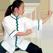 Interloop Kung Fu Top-White wGreen Trim