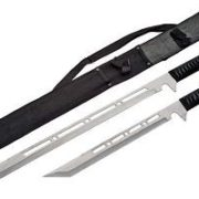 Ninja Full Tang 2-Sword Set-Silver Blade