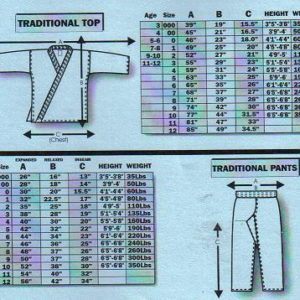 Extra Large Uniform Sizing Chart