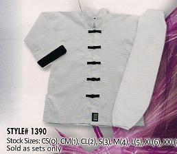 Kung Fu Uniform White w/Black trim-size 4