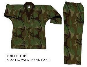 V-Neck Camouflage Uniforms-Green
