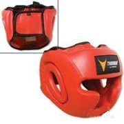 Thunder Vinyl Full-Face Boxing Headgear-Red S/M