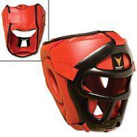 Thunder Red Vinyl Head Guard w/Face Shield S/M