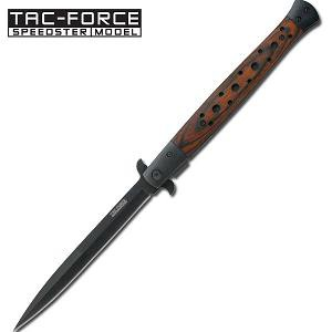 Tac-Force Stiletto Knife Wood Inlay