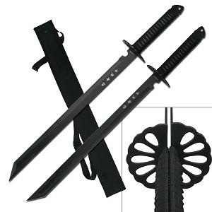 Twin Ninja Swords w/Should Strap