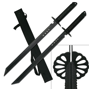 Twin Ninja Swords w/Should Strap