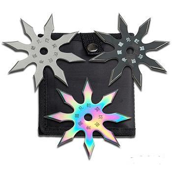 8 Point 3 Piece Star Set (Rainbow/Black/Silver