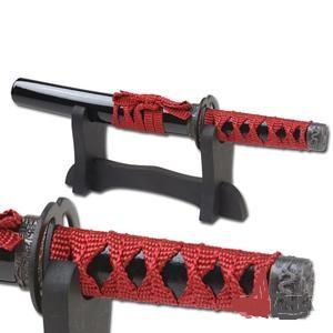 Samurai Letter Opener w/Stand - Black/Red