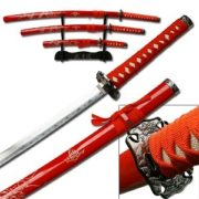 Samurai 3 Sword Gold Dragon Set in Red