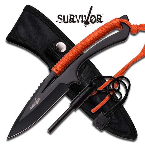 "Survivor Fixed Blade Knife 8"" - Orange"