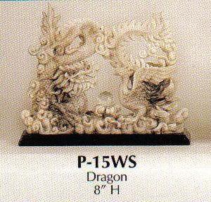 Faux Marble Stoneware Double Dragon-P15ws