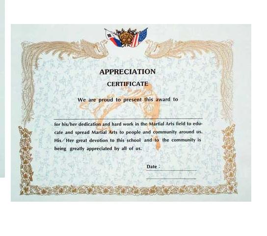 Appreciation Certificate - Academy Of Karate - Martial Arts Supply Inc.