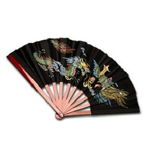 Bamboo Fan with Dragon & Phoenix Design