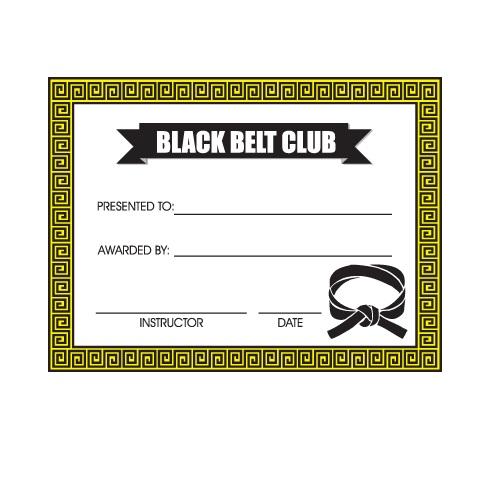 Black Belt Club Certificates