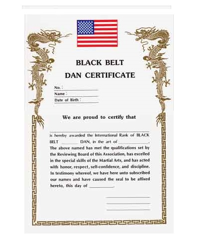 Black belt dan certificate academy of karate martial for Karate certificates templates free