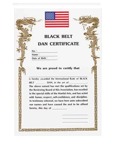 Black belt dan certificate academy of karate martial for Karate certificates templates free