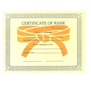 Certificate of Rank-Color Belts-B