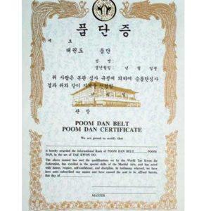 Poom Dan Belt Poom Dan Certificate