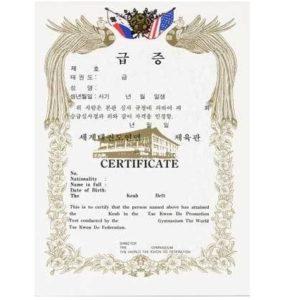 TKD Gup Certificate