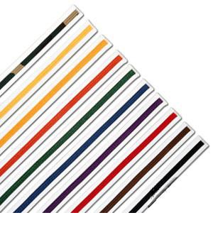White Belts with Color Stripe
