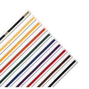 ProForce Single Wrap Striped White Karate Belts