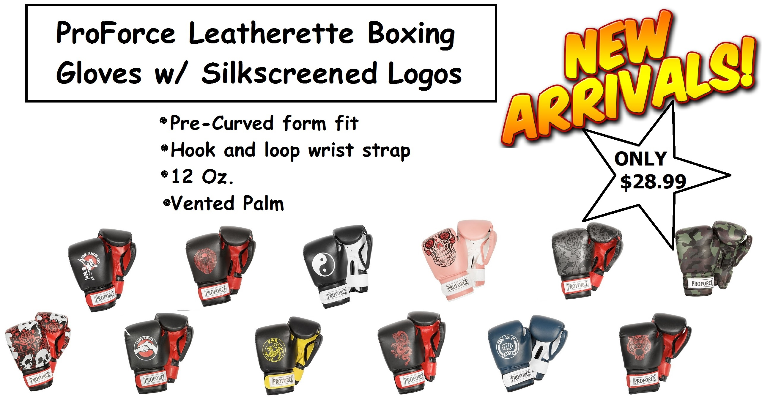 Proforce Silkscreen Leatherette Boxing Gloves