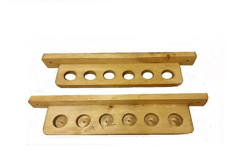 Natural Or Black Stained Wood 6 Bo Staff Rack Stand Wall