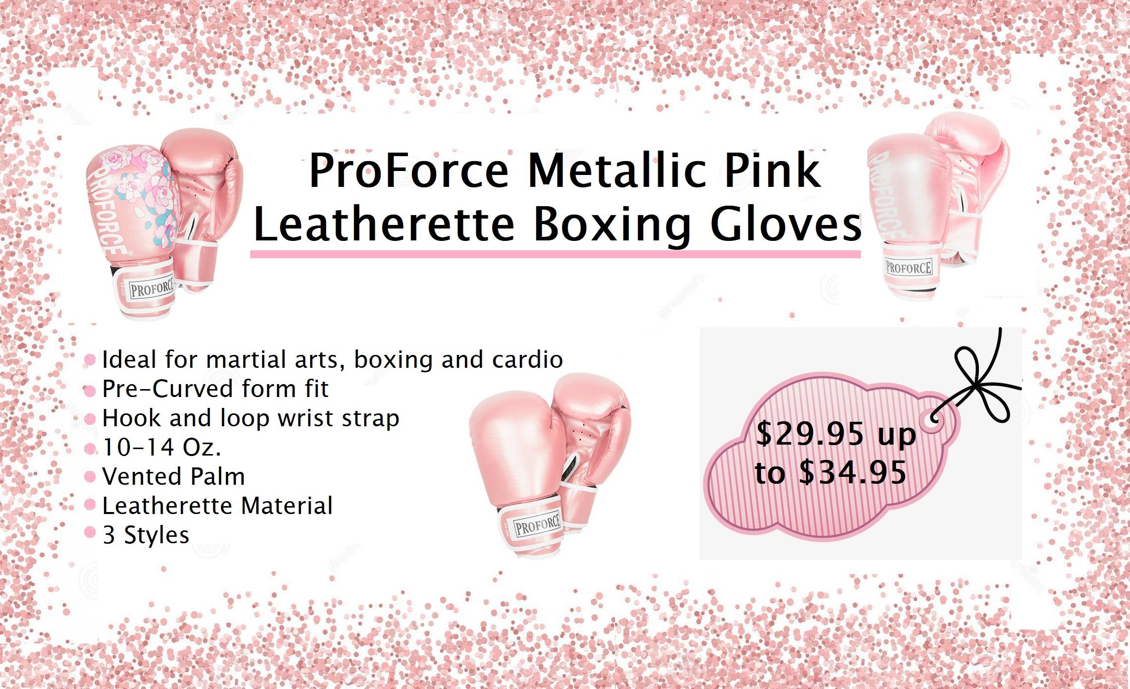 ProForce Leatherette Boxing Glove – Metallic Pink